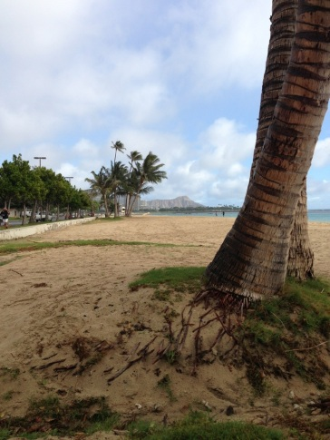Stretching before my run. This is the first beach I went to on my first trip to Hawaii...holds a special place in my heart!