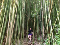 Standing in the bamboo forest.
