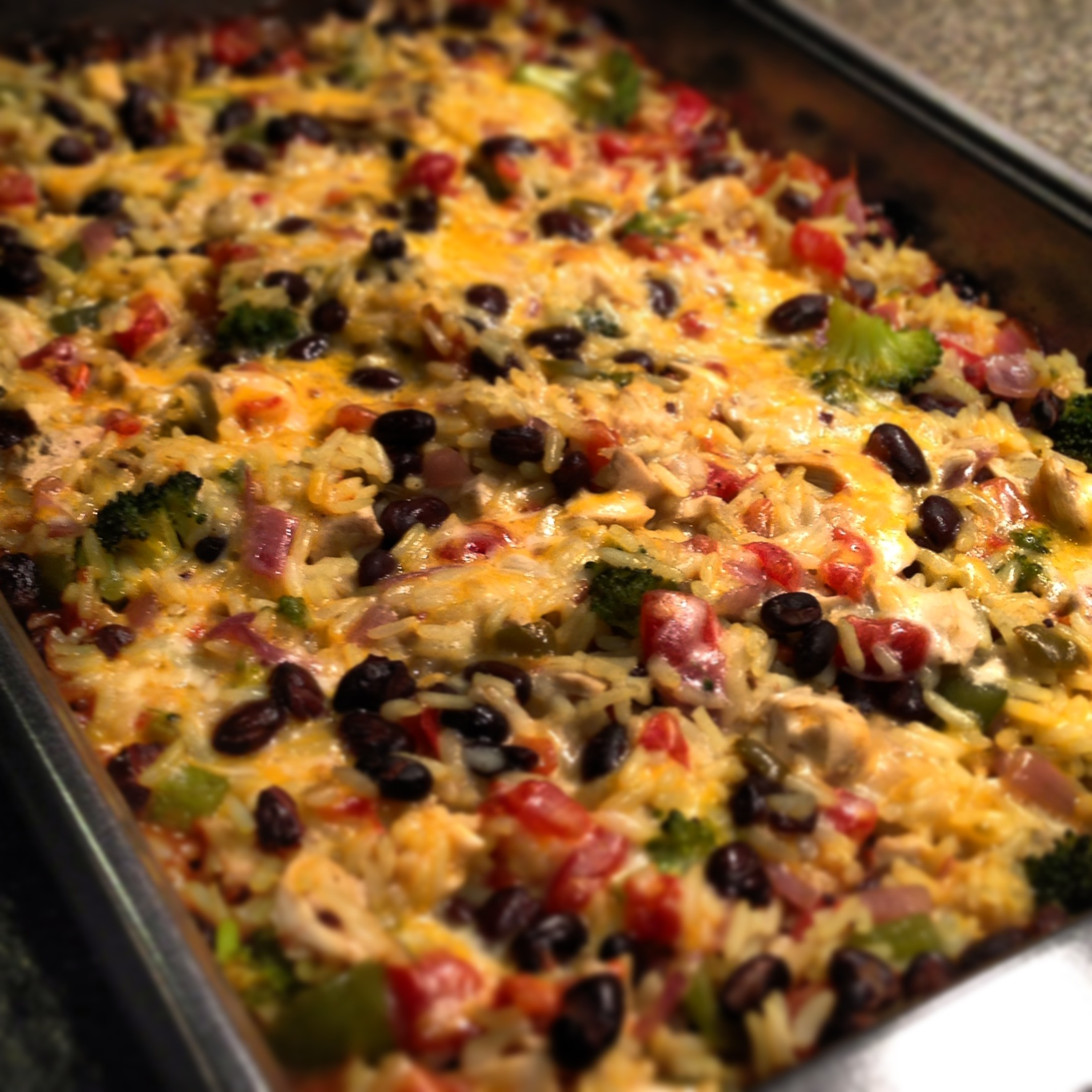 Baked Chicken, Rice And Black Beans Casserole