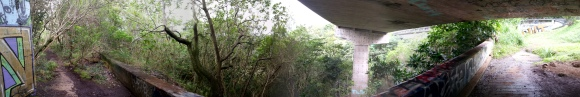 Panoramic of under the highway.