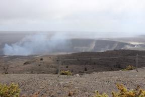 A closer view of Halema`uma`u Crater.