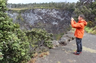 Josh taking a picture of Puhimau Crater.