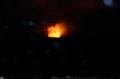 Halema`uma`u Crater at night.