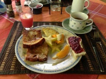 Juice, coffee, fruit, toast, french toast. So good!