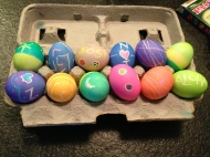 Final Products! The left 6 are Josh's eggs and the right 6 are mine.