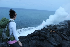 Me, viewing the lava flowing into the ocean.