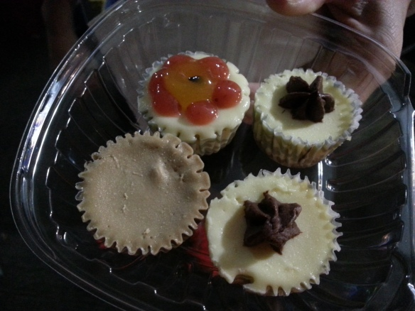 Mini cheesecakes...double chocolate, strawberry passion and coffee.