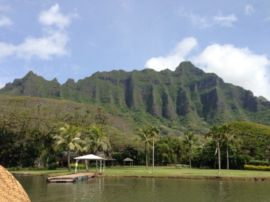 The beautiful mountains...the view from the boat tour on the fish pond.
