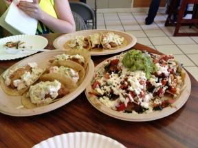 Fish tacos and nachos. SO good!