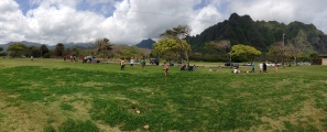 The kids playing after lunch and Kualoa Beach Park.