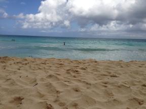 Emel in the ocean at Bellows beach.