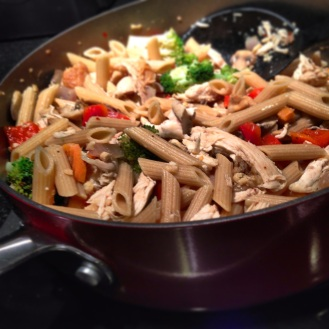 Our healthy dinner after our day full of eating..veggies and chicken with whole wheat pasta.