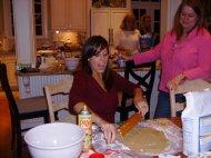 Baking Christmas cookies. December 2009.