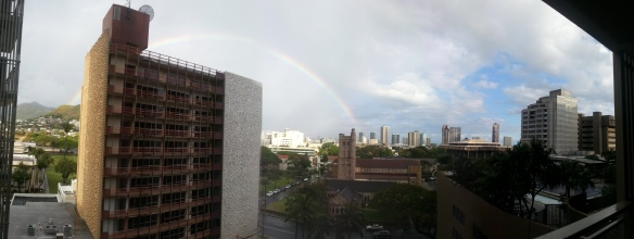 A full rainbow today from our balcony...a happy moment for the day.