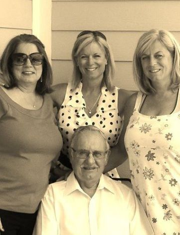 Daughters and Dad. Cerelle, my mom, Jan and Grandpa. Father's Day 2012.