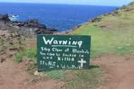 Blowhole warning sign.