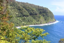 Hana Highway cutting along the cliffs.