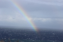 Rainbow over the ocean! LOVE this picture.