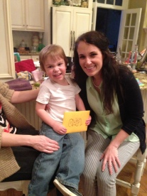 Owen opening his birthday card from me. It was a puzzle :).