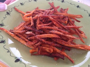 Sweet potato fries with cinnamon, sugar, salt and pepper.