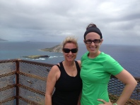 My mom and I at the top of Makapuʻu Lighthouse trail.