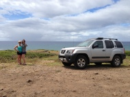 My mom and I and Josh's car on our way to Kaena Point.