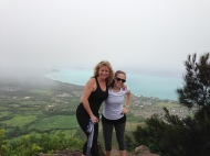 My mom and I at the top of Mariner's Ridge.