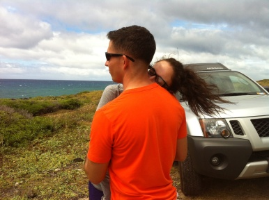 Me napping on Josh on our way to Kaena Point. I was tired!