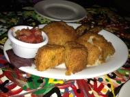 Cuban appetizer sampler: croquetas de jaiba, papa rellena and platanos.