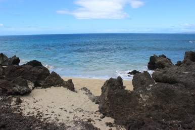 Tiny beach. I loved this little beach. It looked so small compared to all of the black lava rock around it.