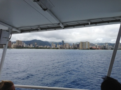 View of Waikiki from the boat on our way to the submarine.
