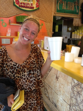 Bailey and her giant smoothie from Lani Kai Juice.