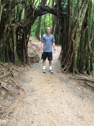 Hiking to Manoa Falls.