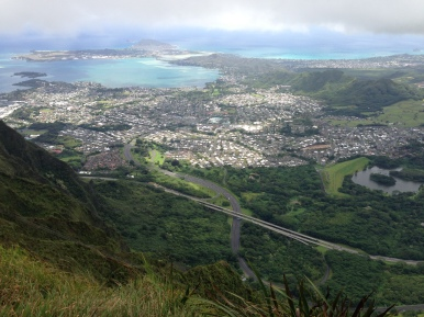 Incredible views before the scary ridge hike to the top of Haiku stairs.