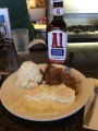 Josh's steak and eggs...and a giant bottle of A1 that they gave him to use.