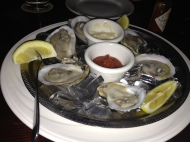 Oysters for an appetizer.