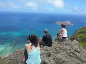 Enjoying the view of the windward coast.