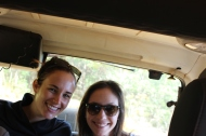 Becca and I in the back of the very dusty jeep. We were covered in red dirt.