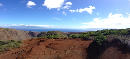 Beautiful view of both Molokai and Maui on Koloiki Ridge.