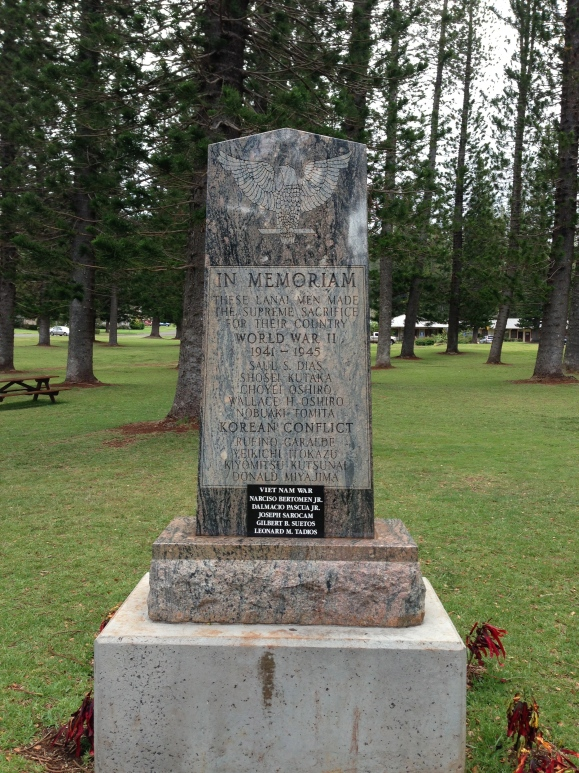 A memorial for the fallen soldiers from Lanai from multiple wars.