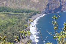 Black sand beach at Waipio Valley.