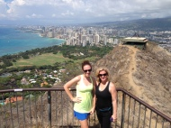My mom and I with Waikiki in the background.