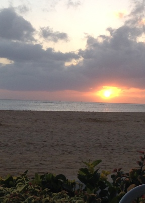 The sunset on Waikiki Beach my last night in Hawaii.