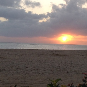 The sunset on Waikiki Beach my last night in Hawaii.