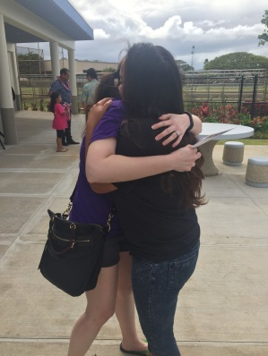Hugging Tia...we cried in front of everyone.