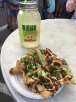 Ahi tuna nachos and lemonade!