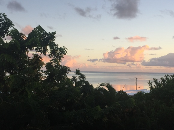 Evening view from our lanai looking out at the ocean.