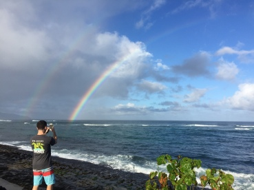 Josh capturing a beautiful double rainbow