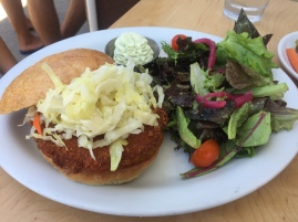 Coconut Shrimp Burger: crisp greens, wasabi cream, mixed greens