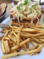 Fried Chicken Sandwich: cole slaw, Asian aioli, French role, fries